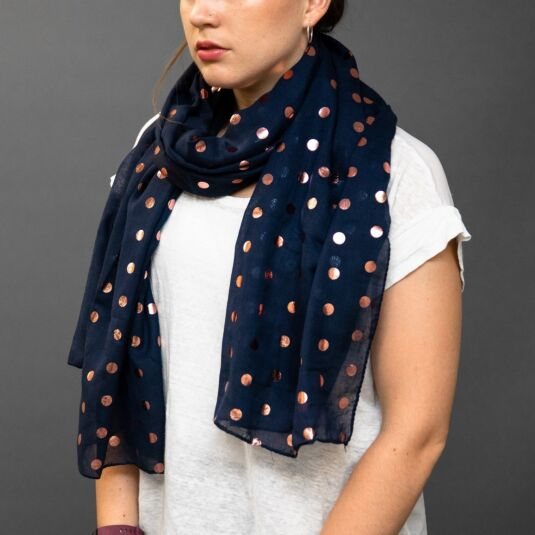 Navy Scarf With Metallic Pink Spots