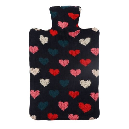 Navy Heart Hot Water Bottle