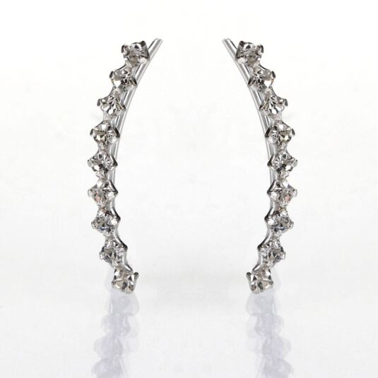 Silver Tiny Crystal Ear Line Studs