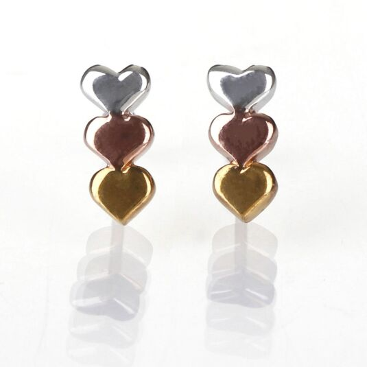 Silver, Rose Gold and Gold Triple Heart Stud Earrings