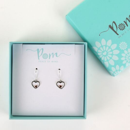 Silver and Rose Gold Heart Earrings