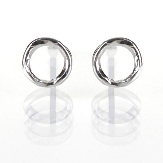 Silver Small Hammered Silver Circle Stud Earrings