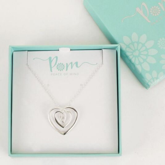 Swirl Heart Drop Sterling Silver Necklace