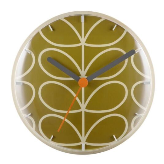Moss Green Linear Stem Wall Clock Orla K Peers Hardy