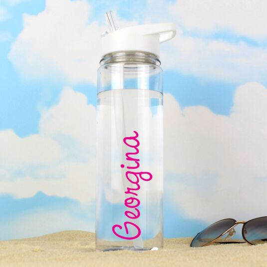Personalised Island Water Bottle with Pink Text