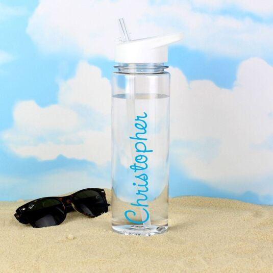 Personalised Island Water Bottle with Blue Text