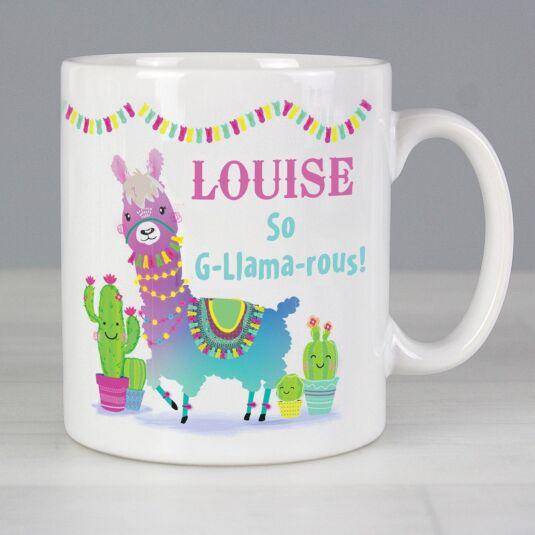 Personalised Pink Llama Mug