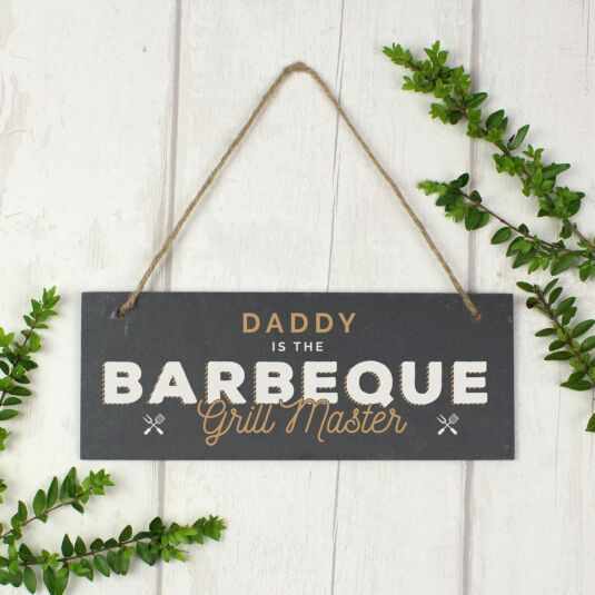 Personalised 'Barbeque Grill Master' Printed Hanging Slate Plaque