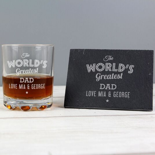 Personalised 'The World's Greatest' Whisky Tumbler & Slate Coaster Set
