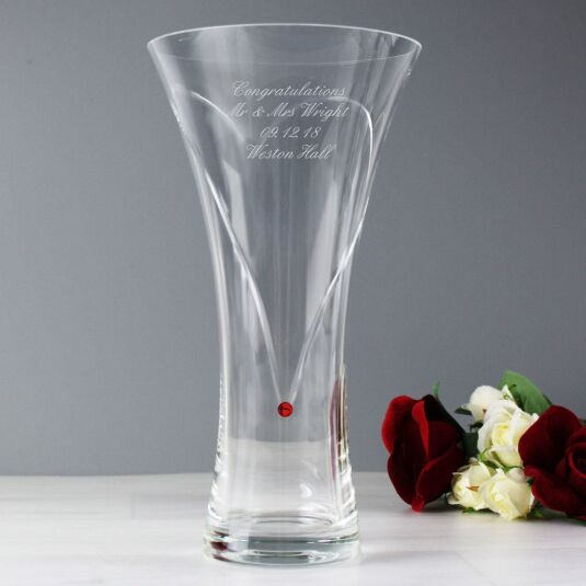 Personalised Infinity Vase with Swarovski Elements – Ruby