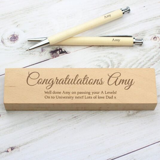 Personalised Wooden Pen and Pencil Box Set