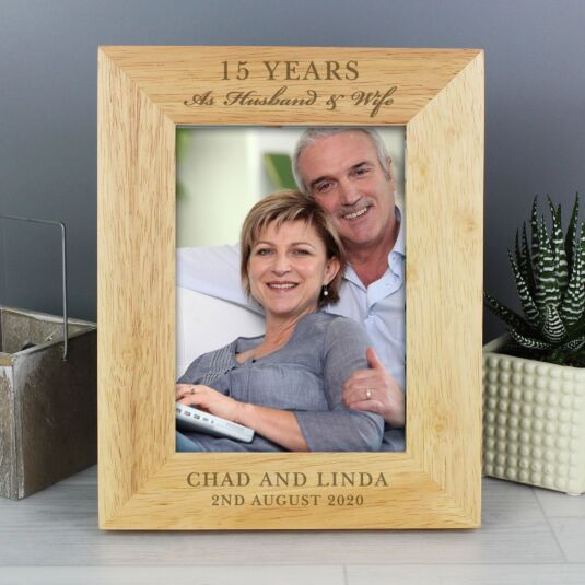 Personalised Anniversary 5 x 7 Wooden Portrait Photo Frame
