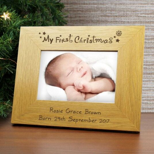Personalised My First Christmas Wooden Frame