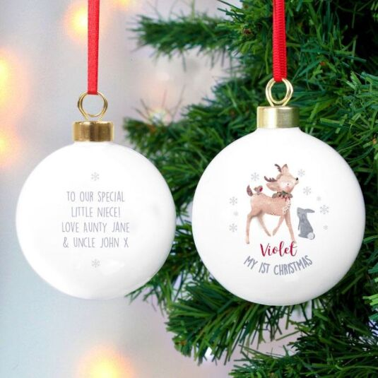Peronalised 1st Christmas Fawn Bauble