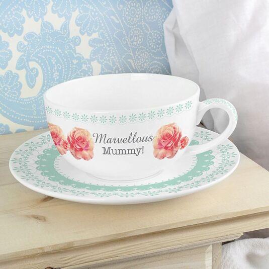 Personalised Vintage Rose Teacup and Saucer
