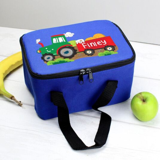 Personalised Blue Tractor Lunch Bag
