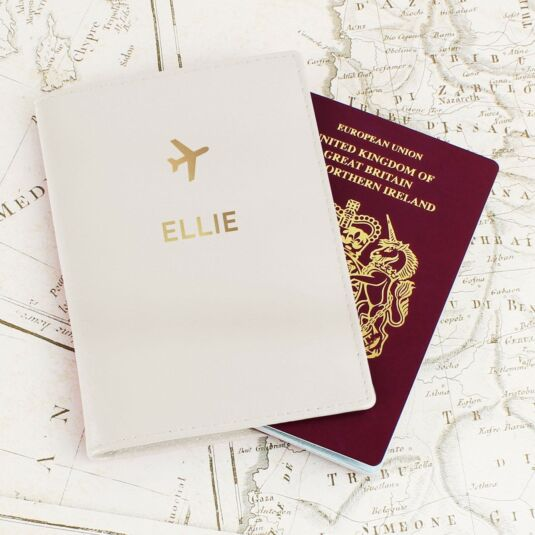 Cream Gold Name Passport Holder