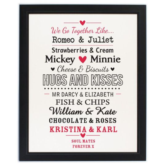 Personalised Couple's Black Poster Frame