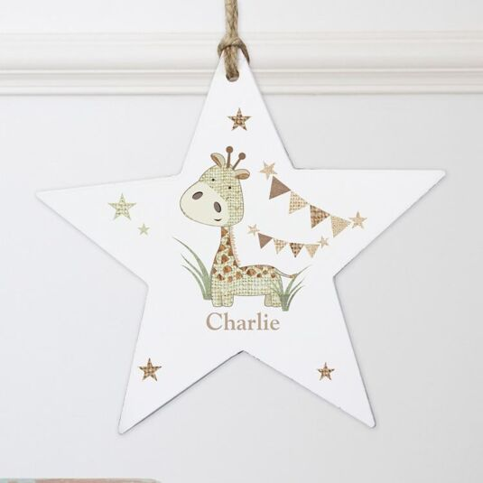 Personalised Hessian Giraffe Wooden Star