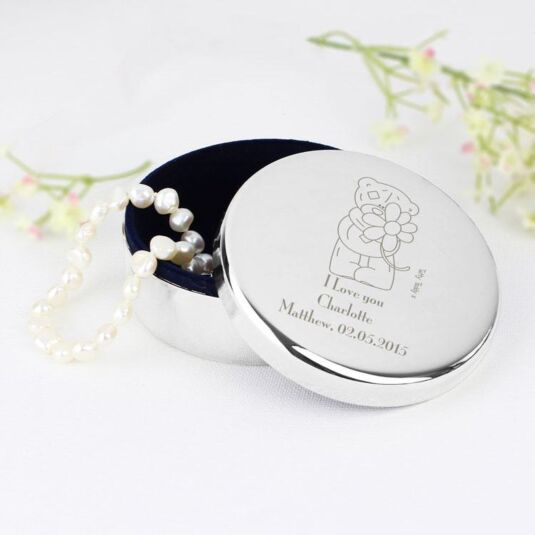 Personalised Me to You Round Flower Trinket Box
