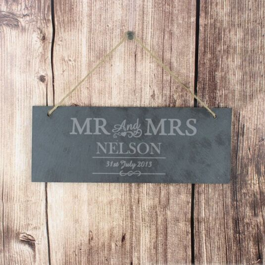 Personalised Mr and Mrs Slate Door Sign