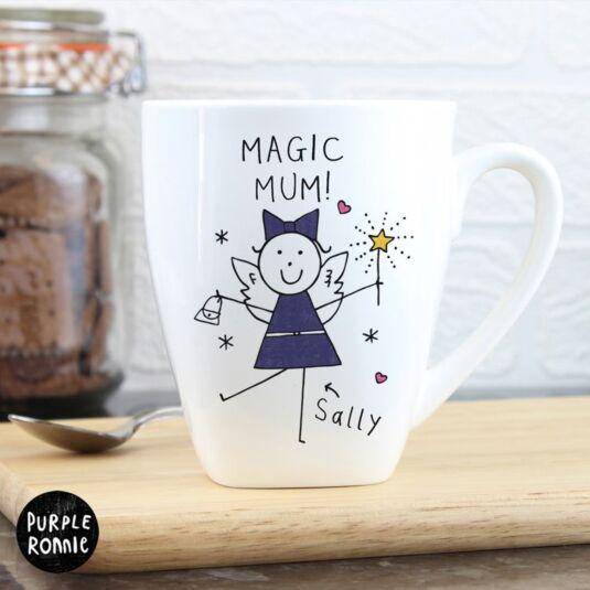 Personalised Purple Ronnie Fairy Latte Mug
