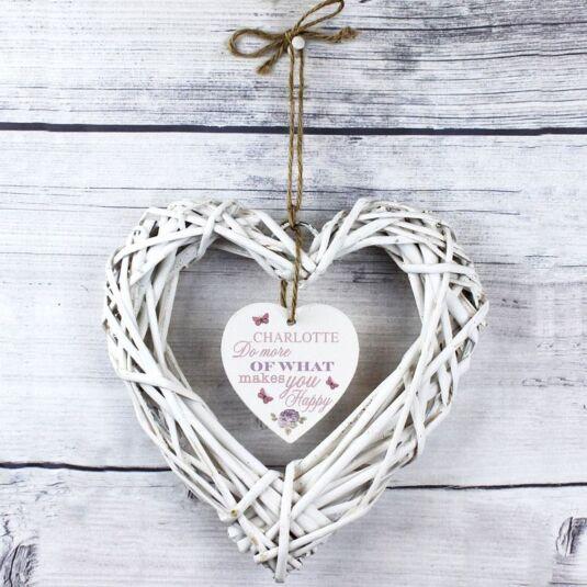 Personalised Secret Garden Wicker Heart Decoration