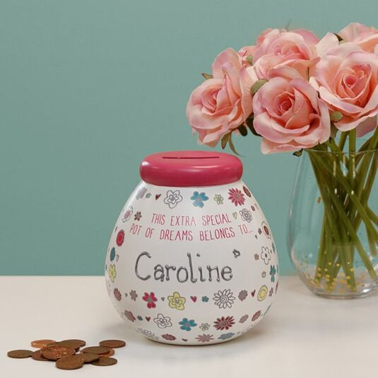 Personalised 'Flowers' Money Pot