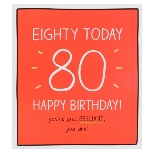 'Happy Birthday Eighty Today!' Card