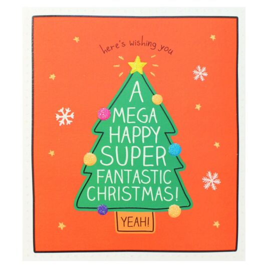 'Mega Happy Super Fantastic' Christmas Tree Christmas Card