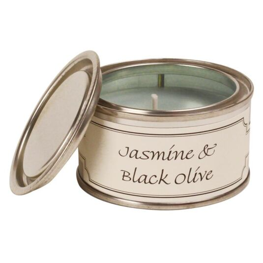 Jasmine & Black Olive Tin Candle