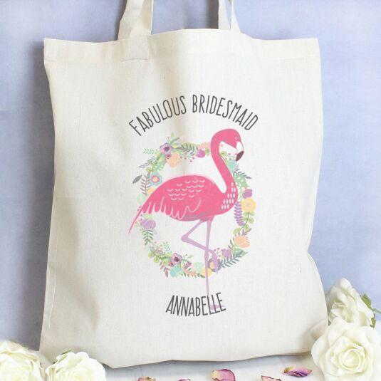 Personalised Flamingo Cotton Bag