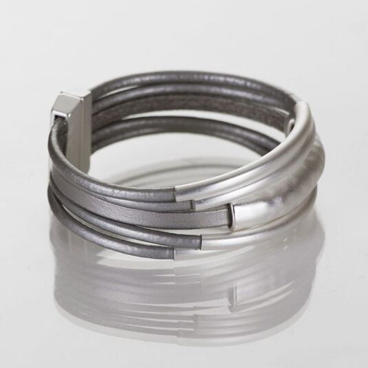 Five Strand Grey Leather Bracelet with Matte Silver Bars