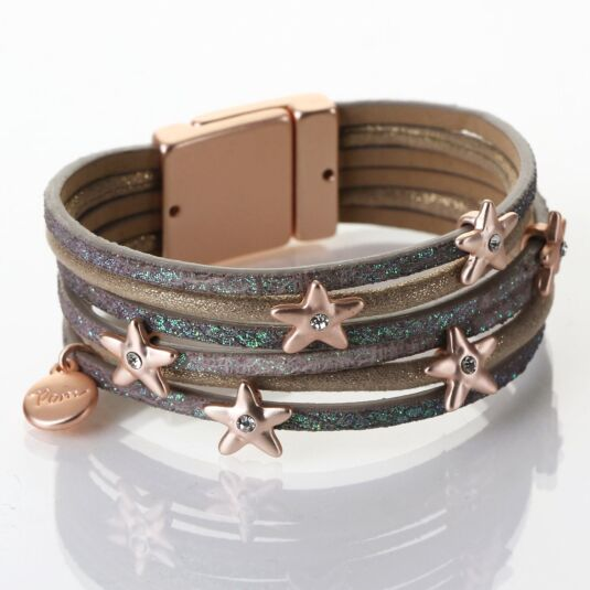 Matt Rose Gold & Tan Stars & Crystal Bracelet