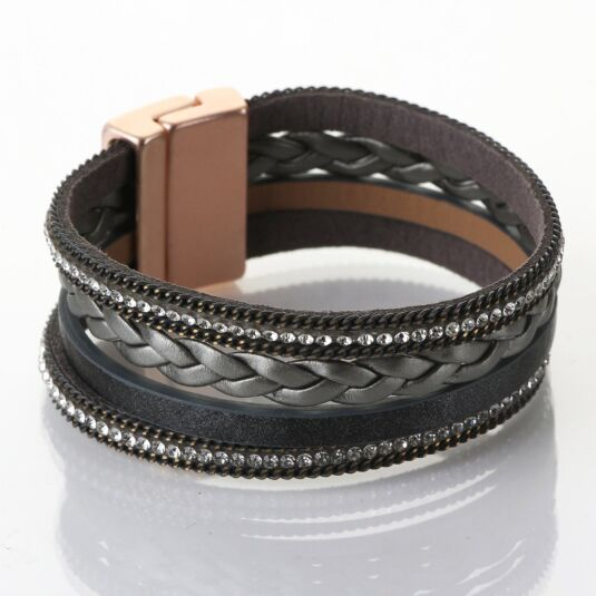 Matt Rose Gold & Grey Leather Multistrand Bracelet