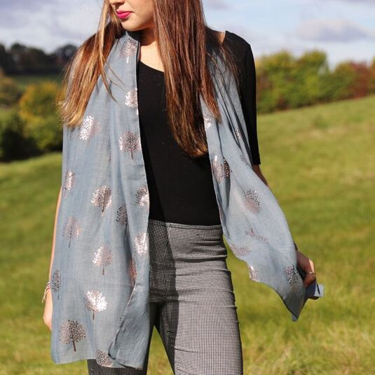 Moss and Rose Gold Trees Scarf
