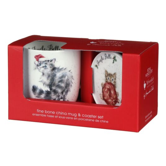 'Jingle Belle' Kitties Mug and Coaster Set