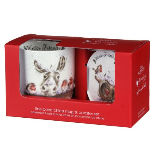 'Winter Friends' Donkey & Robins Mug and Coaster Set