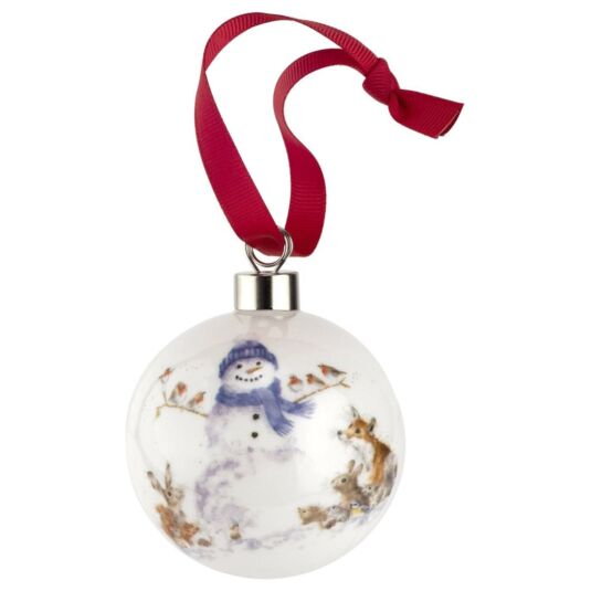 Gathered Around Snowman Christmas Bauble from Royal Worcester