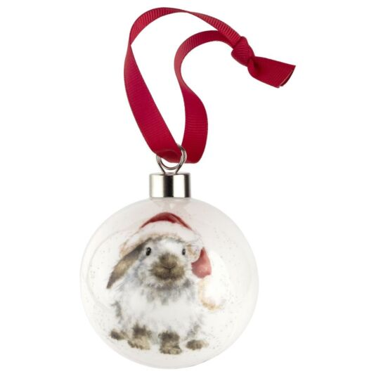 Ho Ho Ho Rabbit Christmas Bauble from Royal Worcester