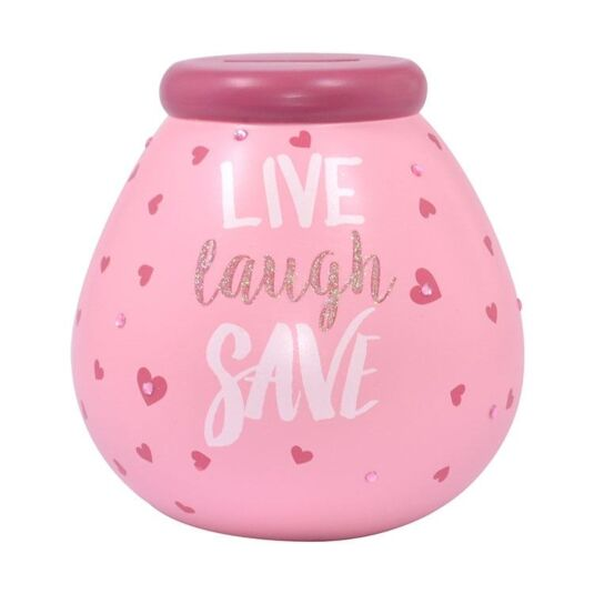 'Live, Laugh, Save' Pink Money Pot