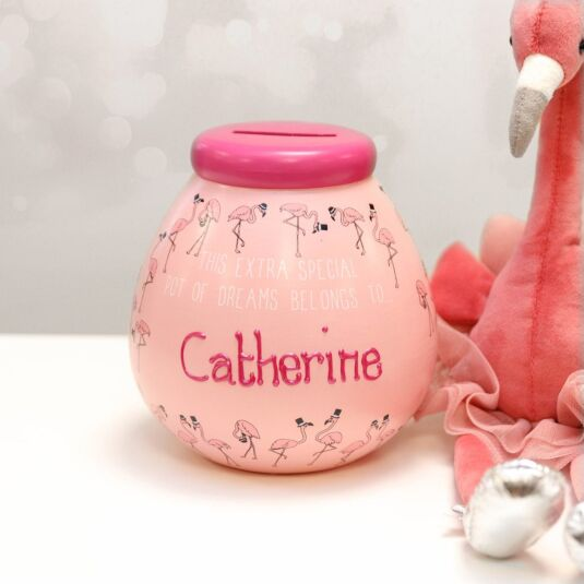 Personalised Flamingo Money Pot