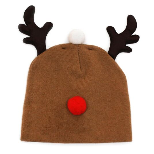 Knitted Reindeer Christmas Beanie Hat