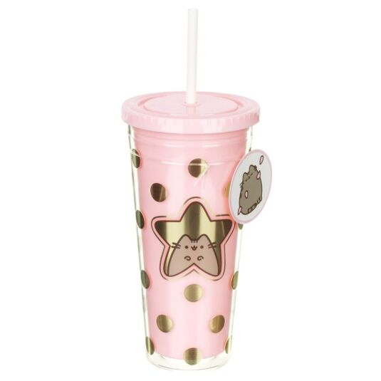 Pink Tumbler With Straw