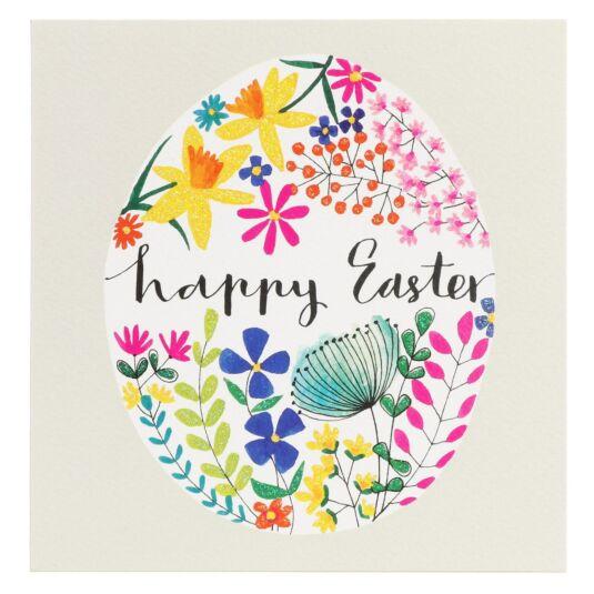 Floral Egg 'Happy Easter' Card