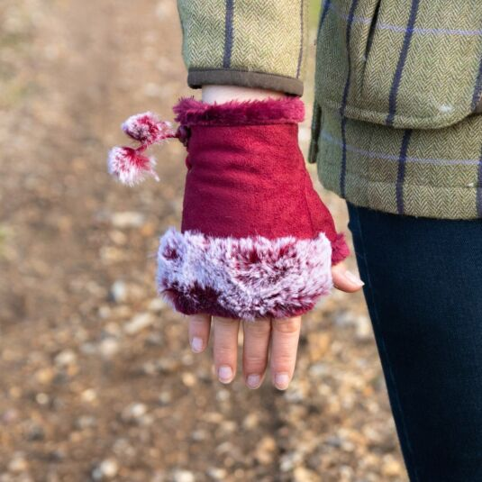 Red Fingerless Gloves with Faux Fur Trim