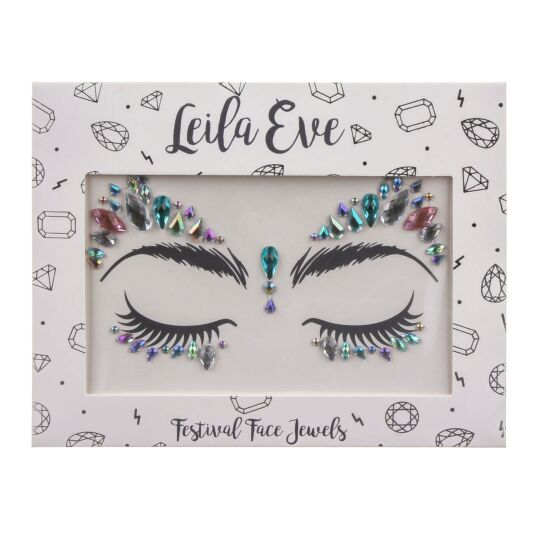 Leila Eve Pink, Silver and Green Festival Face Gems