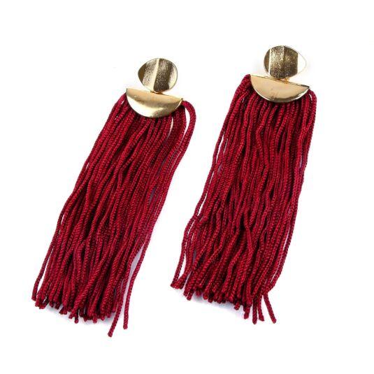 Gold Stud Red Tassel Earrings