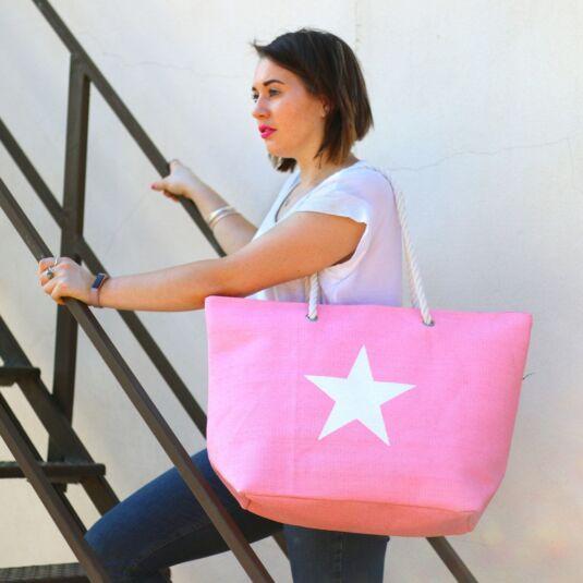 Pink Star Print Beach Shopper Bag
