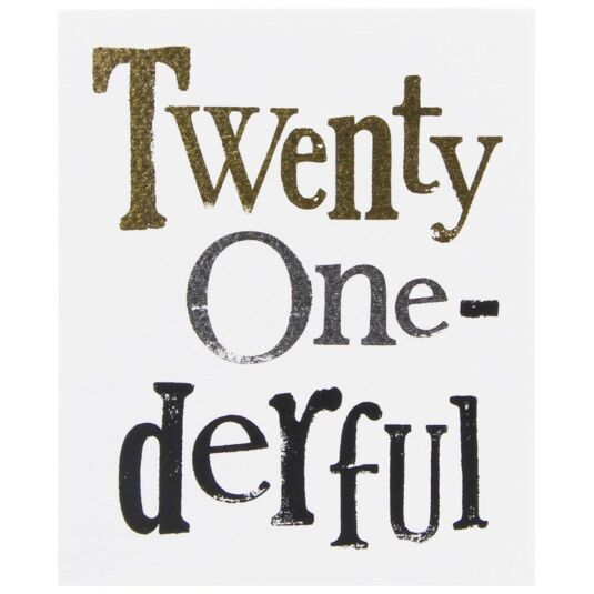 Twenty One-Derful Card